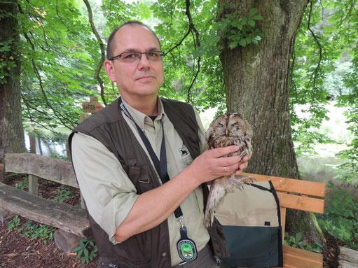 Angekommen in Kämkerhorst nahm ein Mitarbeiter der Naturschutzbehörde das verletzte Tier auf.