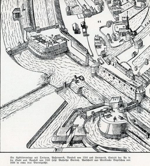 Befestigungsanlage am Aegidiitor - Ausschnitt Alerdinck-Plan