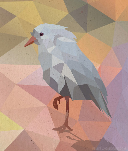 Illustration Hamburg: Kagu - lowpoly illustration
