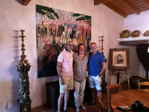 livraison de la toile Féria de Seville a messieurs Manuel Luis Goucha et Rui Olivira
