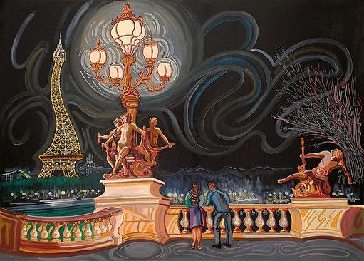 PUENTE DE ALEJANDRO III Y TORRE EIFFEL (PARIS). Huile sur toile. 100 x 140 x 3,5 cm.