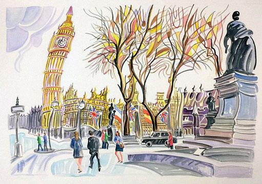 PLAZA DEL PARLAMENTO (LONDON). Watercolor on pressed paper. 56 x 76 x 1 cm.