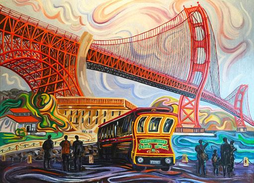 GOLDEN GATE (SAN FRANCISCO). Huile sur toile. 97 x 130 x 3,5 cm.
