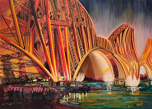 PUENTE SOBRE EL RIO FORTH (EDIMBURGO). Oleo sobre lienzo. 100 x 140 x 3,5 cm.