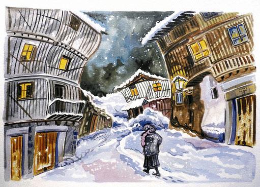 BARRIO NUEVO (LA ALBERCA). Watercolor on pressed paper. 56 x 76 x 1 cm.