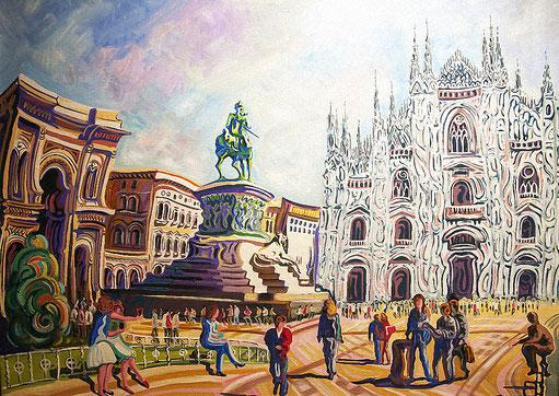 PLAZA DEL DUOMO (MILAN). Huile sur toile. 81 x 100 x 3,5 cm.