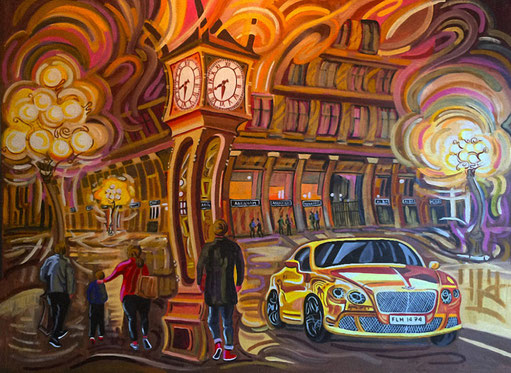 RELOJ DE VAPOR (VANCOUVER). Oleo sobre lienzo. 97 x 130 x 3,5 cm.