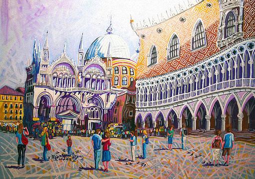PLAZA DE SAN MARCOS (VENECIA). Oleo sobre lienzo. 97 x 130 x 3,5 cm.