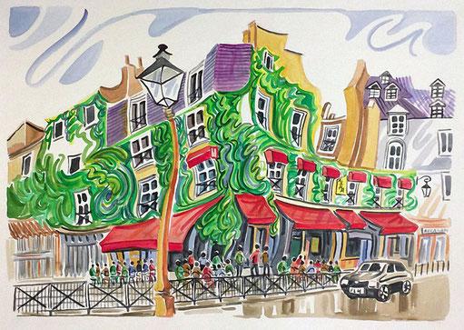 BARRIO LE MARAIS (PARIS). Watercolor on pressed paper. 56 x 76 x 1 cm.
