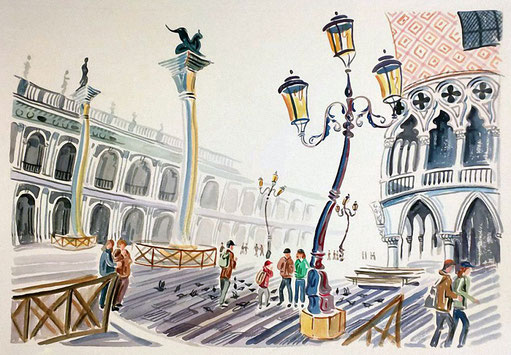 NIEBLA EN VENECIA (VENICE). Watercolor on pressed paper. 56 x 76 x 1 cm.