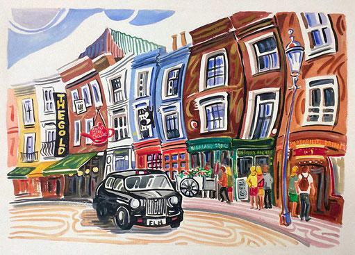 PORTOBELLO ROAD (LONDRES). Aquarelle sur papier pressé. 56 x 76 x 1 cm.