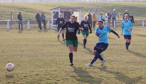 Tina Rosek versucht den Ball im Tor unterzubringen. Foto: Lanzke