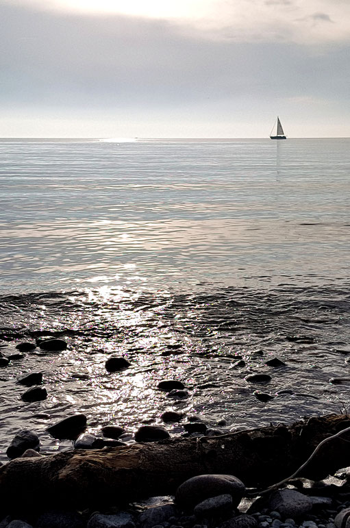 Foto von See, mit kleinem Segelboot am Horizont, Bild zu Gedicht 'elementar' von Claudia Honegger/Lichtpunkt Leben