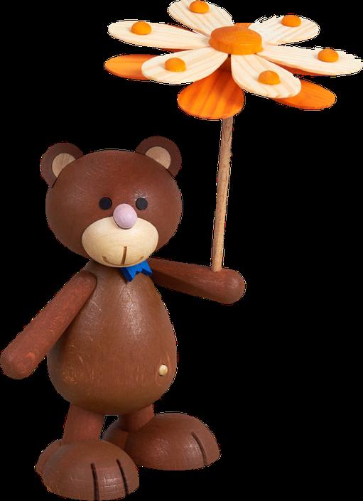Künibärts - Kunibärt mit Blumenschirm aus Holz, Erzgebirge Made
