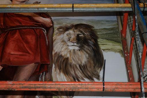 El león de San Mamés, pintura mural religiosa