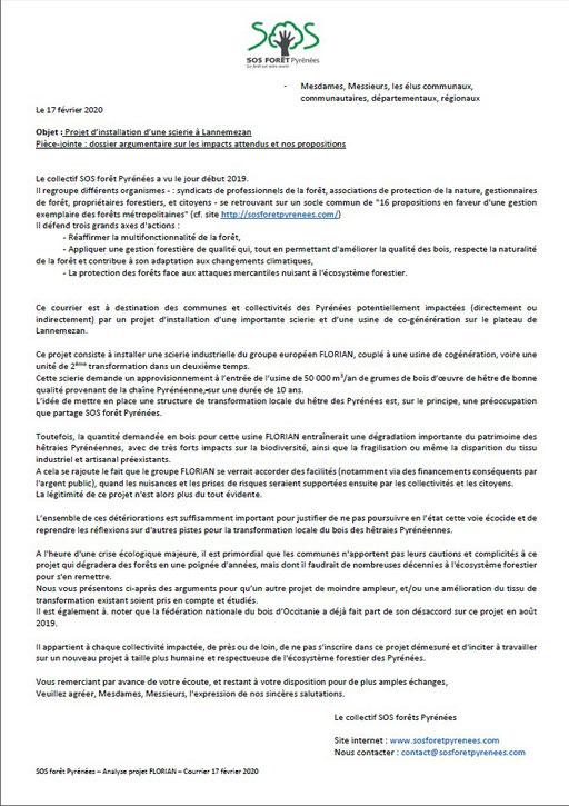 Courrier aux élus communaux, communautaires, départementaux et régionaux par SOS Forêt Pyrénées-P1