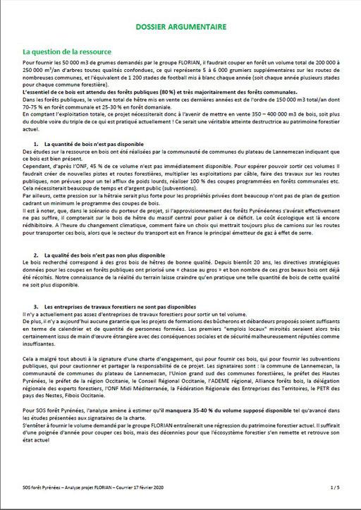 Courrier aux élus communaux, communautaires, départementaux et régionaux par SOS Forêt Pyrénées-P2