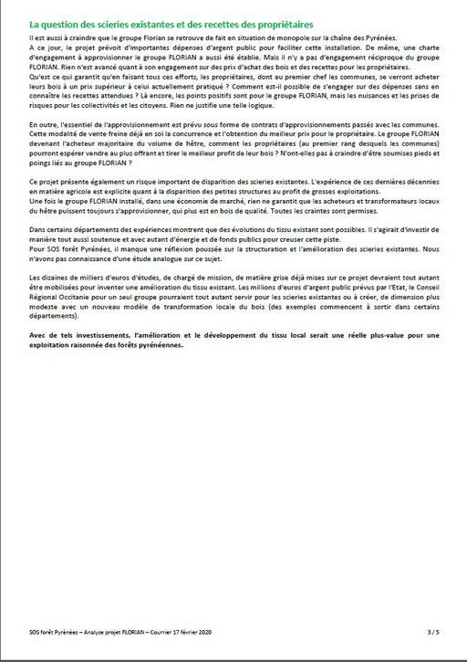 Courrier aux élus communaux, communautaires, départementaux et régionaux par SOS Forêt Pyrénées-P4