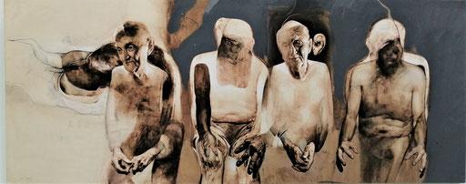 """Marko Kusmuk, Aus dem Zyklus """"Surditas"""": Dialog, 2019, Mischtechnik auf Leinwand, 170 x 380 cm"""