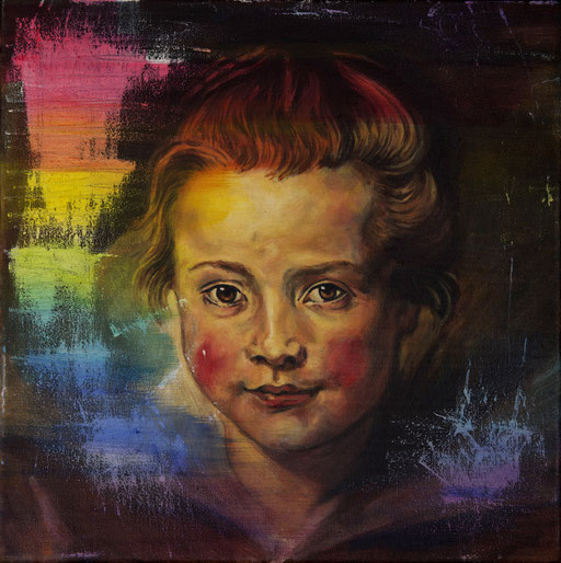 Reunderstanding Rubens II (daughter) -oil in canvas. 30x30 cm. 2016-