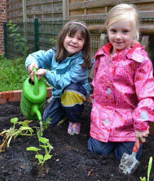 Beet anlegen, gießen, Kinder gärtnern