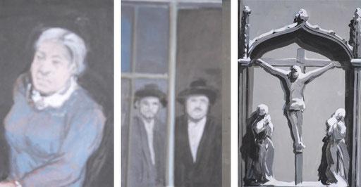 Oft in der Milieukrippe von Lyskirchen übersehen: Die alte Frau, die sich das Geschehen auf der Straße anschaut. Die beiden orthodoxen Juden neben der Kreuzgruppe von Johann Baptist in Köln