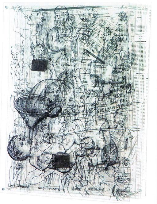 Zeichnung auf Acrylglasscheiben