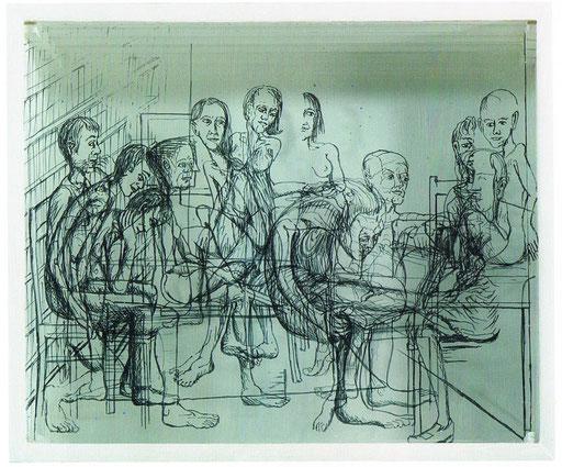 Figuren auf vier Glasscheiben
