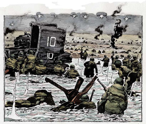 OMAHA BEACH, di A.Molino. Ink on paper. Da AIRONE, 2007
