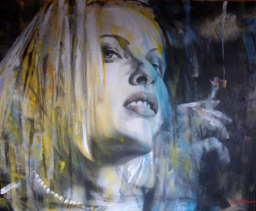 RIE RASMUSSEN, di A.Molino. Da un fotogramma del film ANGELA di Luc Besson. Olio su tela, 2007