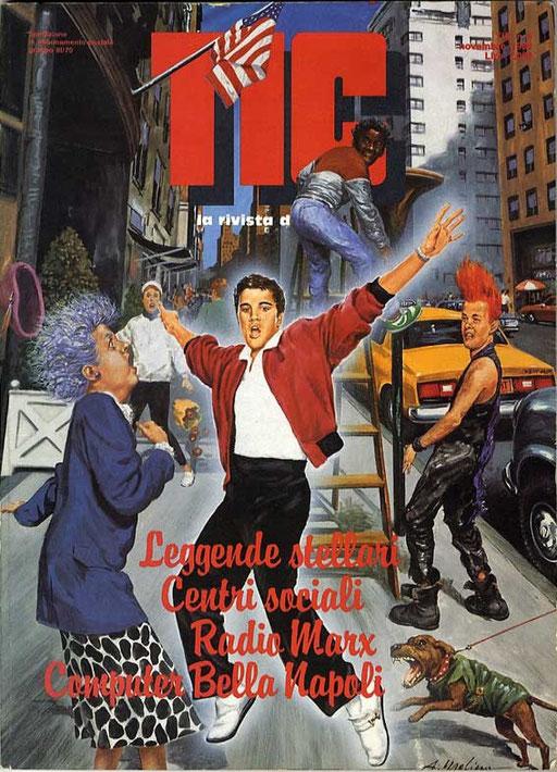 ELVIS E' VIVO? di A.Molino. Tempera su cartone. Da TIC, 1989