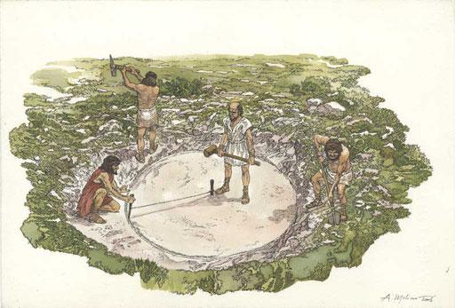 Nel V secolo a.C. i coloni greci estraevano pietra e tufo dalle cave di Cusa per gli edifici di Selinunte. All'arrivo dei Cartaginesi, nel 409 a.C., dovettero abbandonare in fretta e furia il cantiere. Disegni pubblicati su AIRONE, 2001.