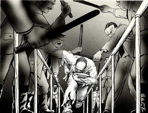 PRIGIONI BULGARE, 1985, di A.Molino. Tempera su cartone. Da OGGI, 1985