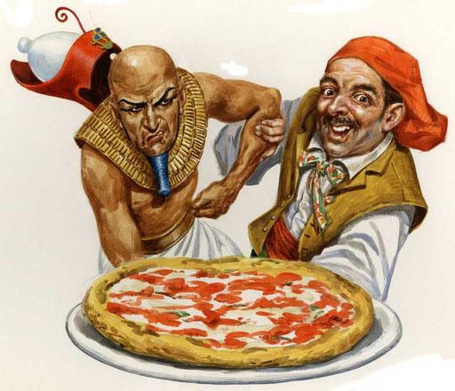 LA PATERNITA' DELLA PIZZA: EGIZIANI VS NAPOLETANI, di A.Molino. Acrilici su cartone. Da FOCUS, 2003