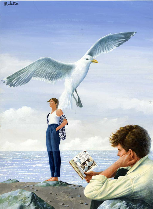 BIRDWATCHING, di A.Molino. Tempera su cartone. Da ANNABELLA, 1985