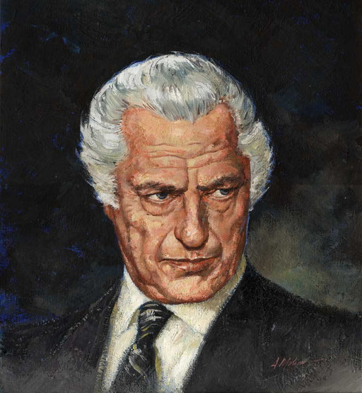 GIANNI AGNELLI, by A.Molino. Acrylics and oils on cardboard, 1985.
