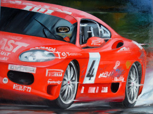 NIKI CADEI ON FERRARI 360 CHALLENGE, MUGELLO 2004, by A.Molino, 2005. Oil on canvas (70x60 cm). 12.000 €.