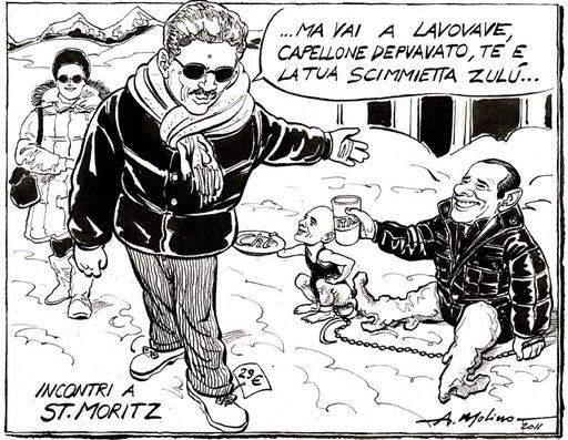 IL CACHEMIRE DI D'ALEMA, di A.Molino. Ink on paper. Dal numero 0 di un quotidiano per Cairo Editore, 2011