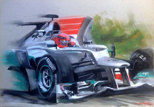 MICHAEL SCHUMACHER ON MERCEDES F.1. Tempera su cartone (50x35 cm), 2013. Private collection.