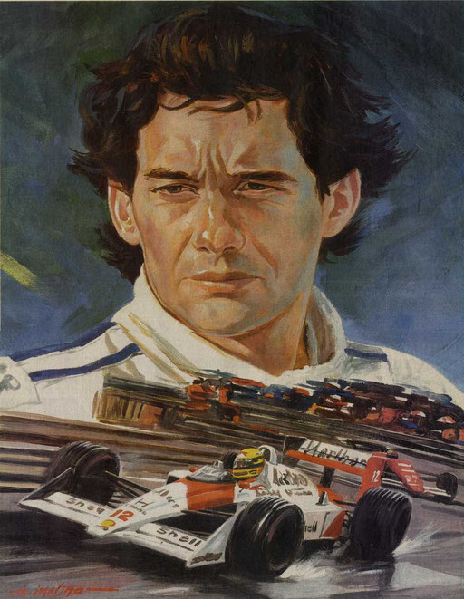AYRTON SENNA AND HIS MCLAREN, by A.Molino, 2004. Acrylics on cardboard (35x50 cm). Published on Il Giorno. private collection.