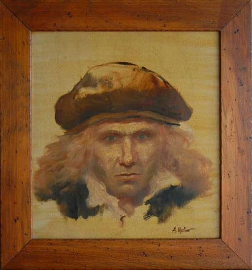 CRISTOFORO COLOMBO, CON IL MARE NEGLI OCCHI, di A,Molino. Olio su legno, 1991