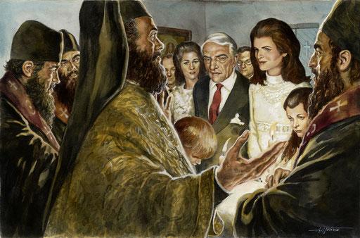 IL MATRIMONIO FRA ARISTOTILE ONASSIS E JACQUELINE BOUVIER, VEDOVA DI JOHN F. KENNEDY, di A.Molino. Acrilici su cartone, 2006