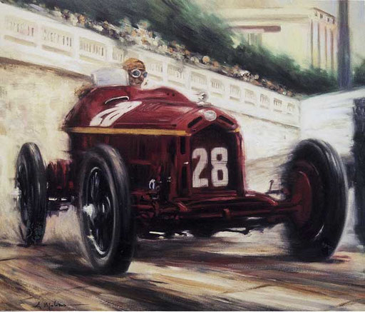 TAZIO NUVOLARI SU ALFA ROMEO. GP DI MONACO 1932. Olio su tela (60x70 cm), 2005. Collezione privata.