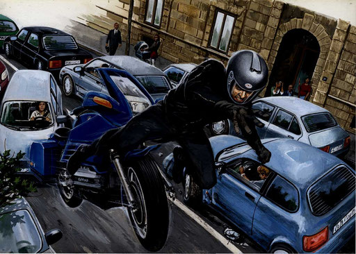 MILANO, VIA CANOVA: LA BMW TOCCA UN'AUTO E DECOLLA PER UN VOLO DI 30 METRI, di A.Molino. Tempera su cartone. Da FOCUS EXTRA, 2012