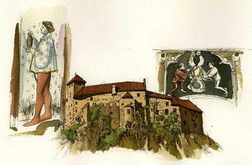 CASTEL RONCOLO, di A.Molino. Ink on paper. Da BELL'ITALIA, 1995
