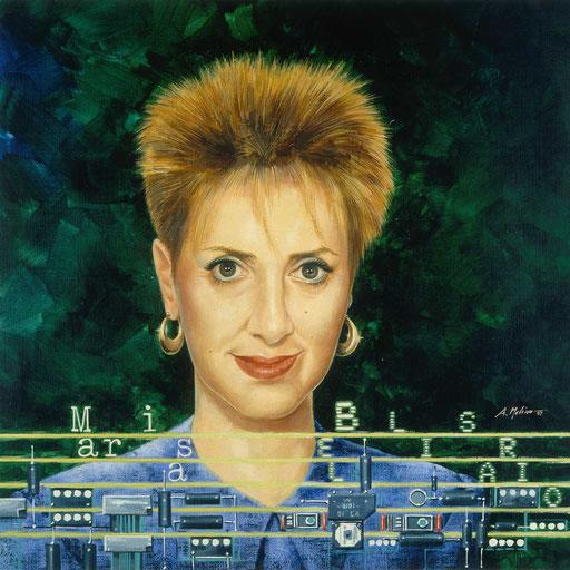 MARISA BELLISARIO, di A.Molino. Acrilici su cartone telato. Da CAPITAL, 1987