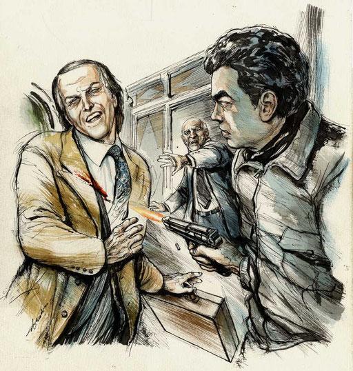27 MARZO 1995: UN KILLER SPARA A MAURIZIO GUCCI NELL'ANDRONE DEL SUO UFFICIO, di A.Molino. Ink on paper. Da OGGI, 2009