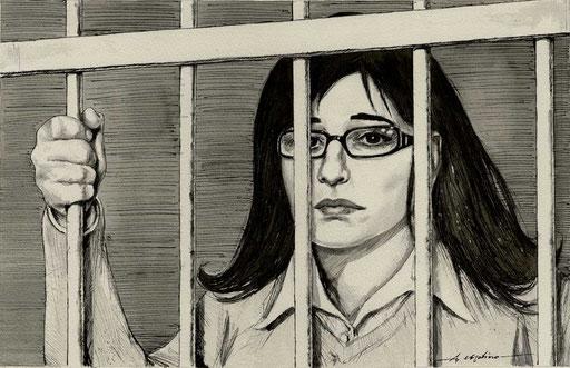 SABRINA MISSERI DENTRO LA GABBIA DEL TRIBUNALE, di A.Molino. Ink on paper. Da GENTE, 2011