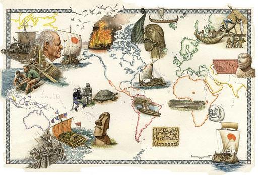 I VIAGGI DI THOR HEYERDAL, di A.Molino. Ink on paper. Da AIRONE MARE, 1999