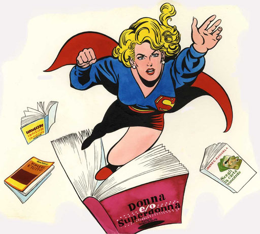 SUPERWOMAN, di A.Molino. Ink on paper. Da ANNABELLA, 1985
